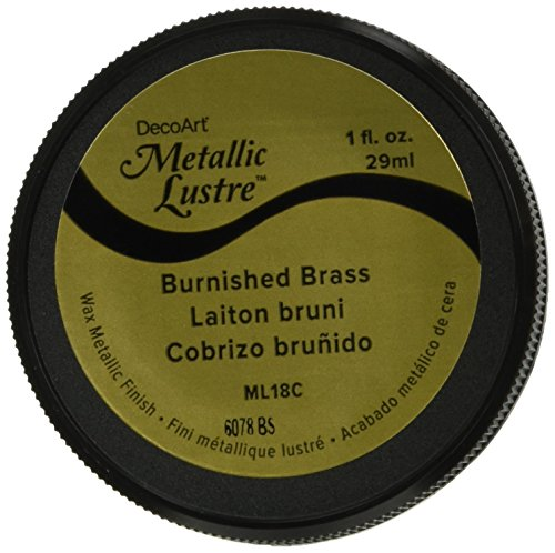 DecoArt ML18C-28 Metallic Lustre Wax Finish 1Oz-Burnished Brass