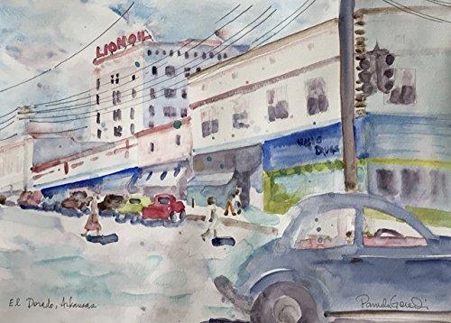 1950s Town Square, El Dorado, Arkansas, Pickup Trucks, Shoppers, Drugstore on the Corner, 8x10 inches, Original Watercolor - Arkansas Square