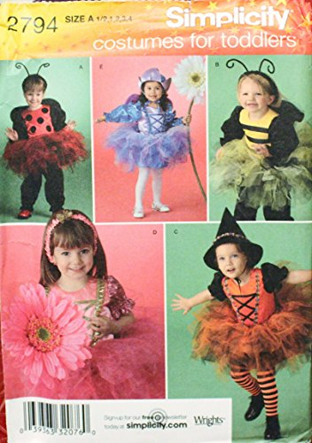 Simplicity 2794 Costumes for Toddlers...Ladybug, Bumble Bee, Witch, Flower Fairies Size A (1/2,1,2,3,4)