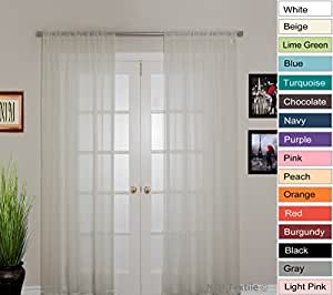 NIM Textile Elegant Sheer Voile Curtains Panels, Rod Pocket Top, 2 panles 140 cm x 213 cm each, Beige, Love Inn Collection