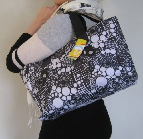 handbag Bag wipe Dots strong and amp; Bag Black Very Beach Floral Knitting cleanable Silver White HqRtx1wFEn