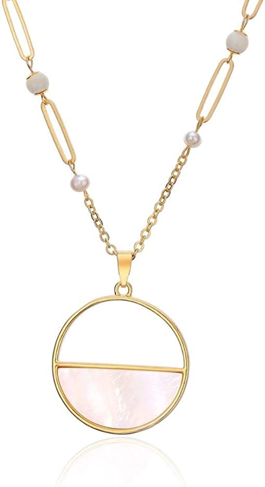 YUANQING Vintage Ronda Shell Collar Colgante Cadena de Oro de Imitación Perla Encantos Collar Largo para Las Mujeres Fiesta de Joyería de Moda Regalos