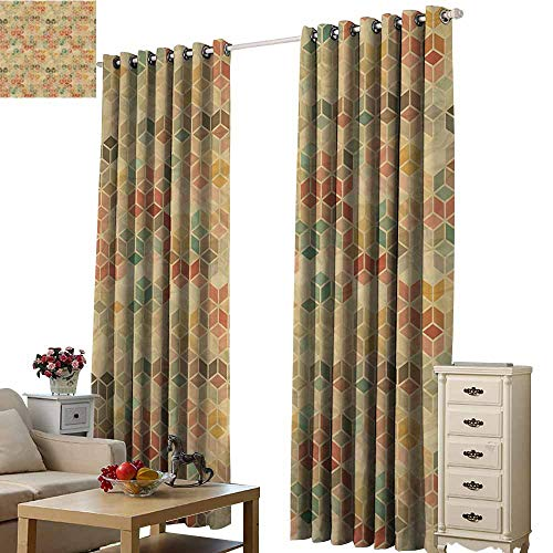 Warm Family Geometric Bedroom Windproof Curtain Soft Toned Retro Inspired Cube Pattern with Squares and Lines Vintage Old School Set of Two Panels W120 x L84 Multicolor