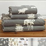 Great Bay Home - Juego de sábanas de microfibra de 4 piezas con estampado de lodo Hermosos patrones dibujados de la naturaleza, cómodos, sábanas para todas las estaciones., Forest Animal - Dark Grey, Individual, 1