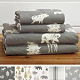 3-Piece Lodge Printed Ultra-Soft Microfiber Sheet Set. Beautiful Patterns Drawn from Nature, Comfortable, All-Season Bed Sheets. (Twin, Forest Animal - Dark Grey)