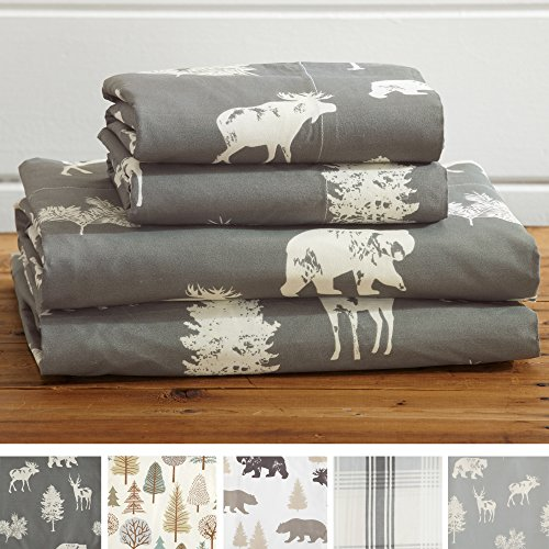 4-Piece Lodge Printed Ultra-Soft Microfiber Sheet Set. Beautiful Patterns Drawn from Nature, Comfortable, All-Season Bed Sheets. (King, Forest Animal - Dark Grey)
