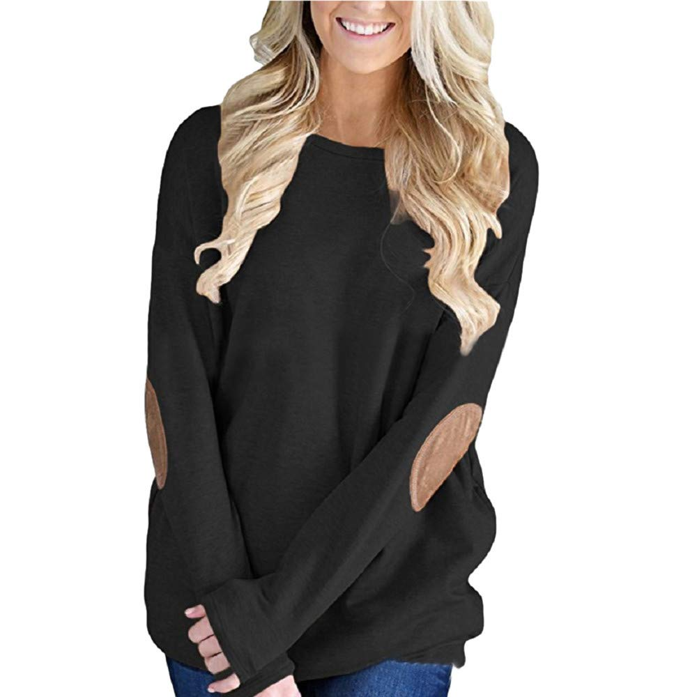 Zaidern Women Blouse Loose Long Sleeve Solid Shirts O-Neck Patchwork Bottom T-Shirt Blouse Tops Sweatshirts