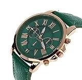 SMTSMT Womens Leather Analog Quartz Wrist Watch-Dark Green