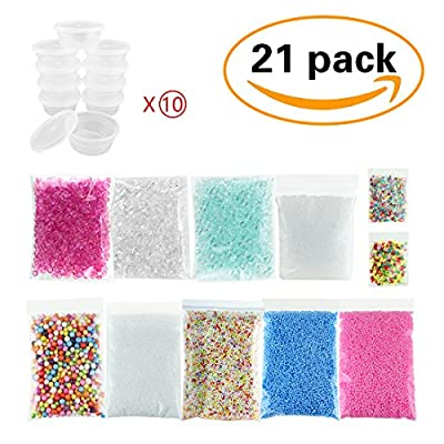 21 Pack Slime Supplies - 10pcs Storage Container for 20g Slime, Fishbowl Beads Fish Bowl Filler 5.3oz, Slushie Beads 3.5oz, Colorful Styrofoam Foam Balls 13000pcs with Fruit Splice, Glitter Sequins