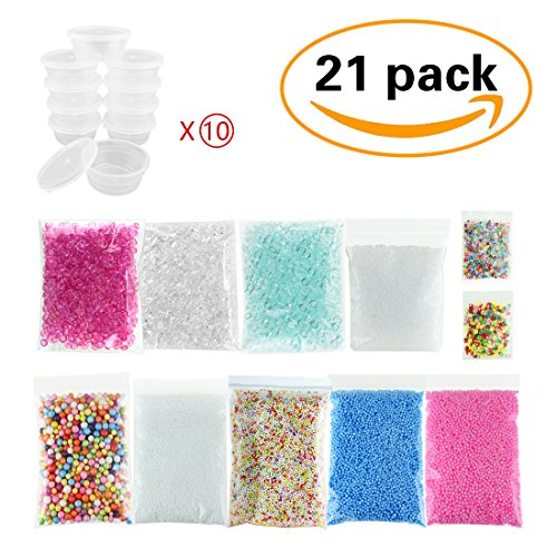 21 Pack Slime Supplies - 10pcs Storage Container for 20g Slime, Fishbowl Beads Fish Bowl Filler 5.3oz, Slushie Beads 3.5oz, Colorful Styrofoam Foam Balls 13000pcs with Fruit Splice, Glitter Sequins (Bowl Plastic Small Fish)
