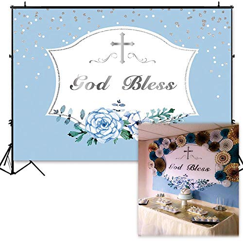 Funnytree 7X5FT First Communion Baptism Backdrop Blue Boys Banner Background god Bless photobooth ()