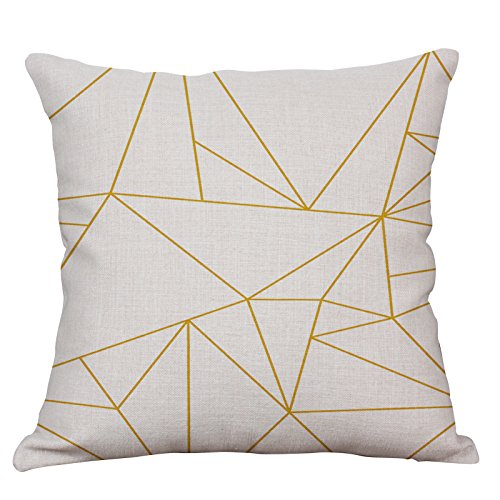 YeeJu Geometric Decorative Throw Pillow Covers Cotton Linen Square Cushion Covers Outdoor Couch Sofa Home Pillow Covers 16x16 Inch