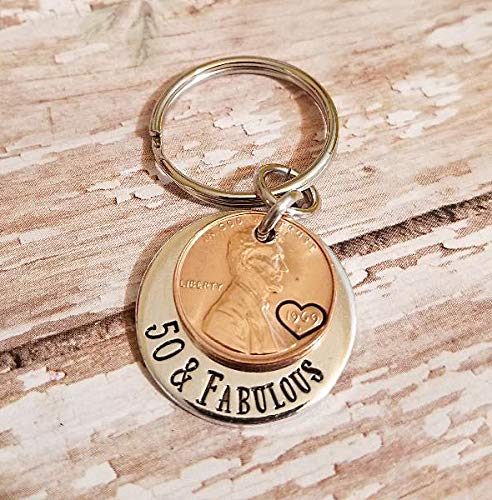 (50 & Fabulous Coin Key Chain for 50th Birthday Lucky 1969 Copper Penny Gift for Her)