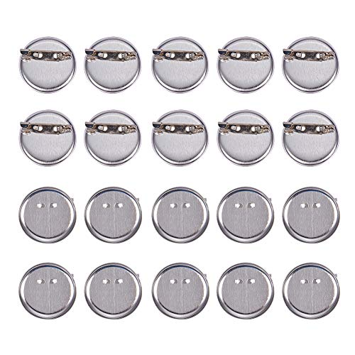 PandaHall 20 Pcs Iron Brooch Clasps Pin Disk Base Pad Bezel Blank Cabochon Trays Backs Bar Diameter 29mm for Badge, Corsage, Name Tags and Jewelry Craft Making Platinum -