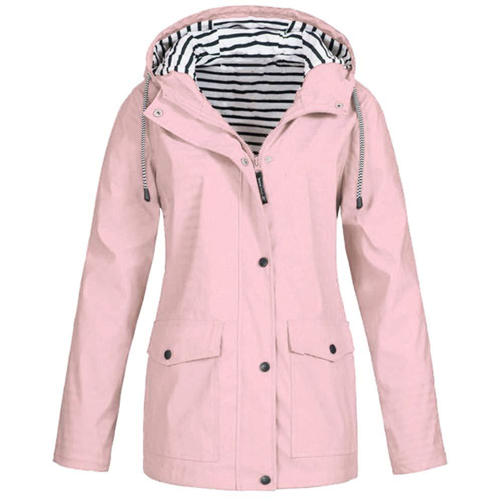 Dermanony Womens Windbreaker Solid Color Rain Jacket Outdoor Plus Waterproof Hooded Raincoat Windproof Outerwear by Dermanony _Coat