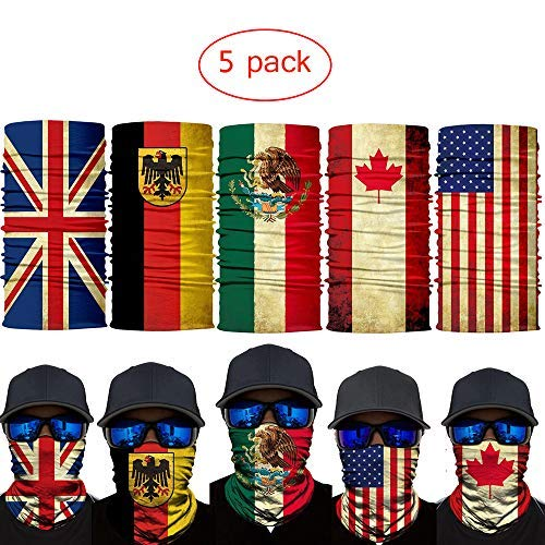 2019 New 3D Flag Face Mask Improved Headwear Neck Gaiter Headband Magic Scarf Seamless Bandana for Men Women Motorcycle Cycling Running Hiking Fishing Yard work