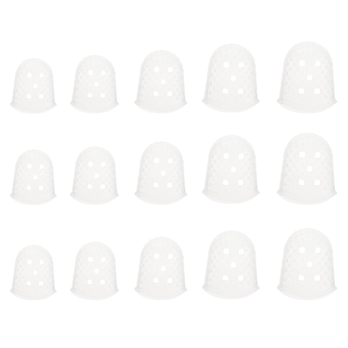 ROSENICE Guitar Fingertip Protectors Silicone Finger Guards for Guitar 5 Sizes 15pcs 182103O282H5075