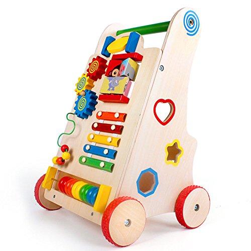 BigNoseDeer Actividad de Madera Bebé Aprendiendo Walker De Madera Empuje el Juguete Juguete Educativo Carro de bebé Grande para el niño pequeño: Amazon.es: ...