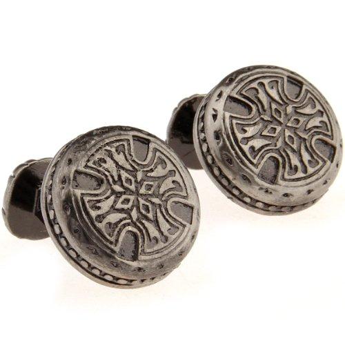 Santimon - Brown Brass Drawbench Retro Greek Adytum Carved Decorative Pattern Men Cuff Cufflinks