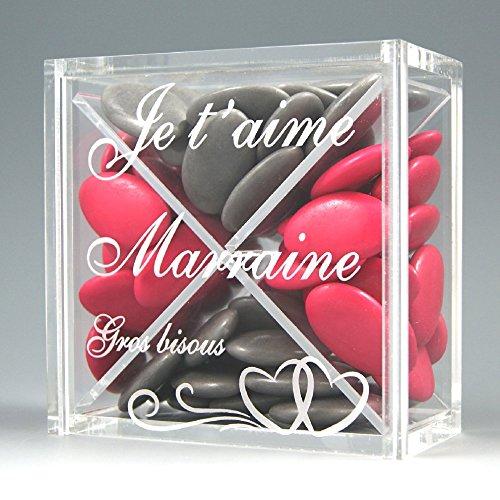 Boite pour Dragées MARRAINE - Cœur - Baptême & Communion Gravure Events BPfeeMr