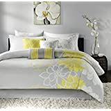 Madison Park Lola Comforter Set, Queen, Grey/Yellow(MP10-173)