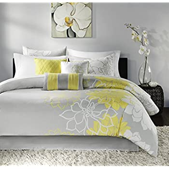 yellow and grey comforter Amazon.com: Madison Park Lola 7 Piece Comforter Set Size: King  yellow and grey comforter
