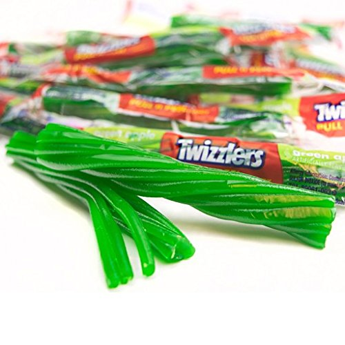 Twizzlers Green Apple Pull-n-Peel Licorice Twists 2 Pounds Pack Wrapped Twizzlers -