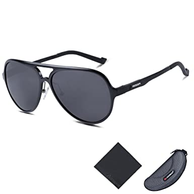 06883c1fbd Hodgson Aviator Style Polarized Sunglasses for Men or Women Al Mg Frame  Unbreakable Glasses - Black -  Amazon.co.uk  Clothing