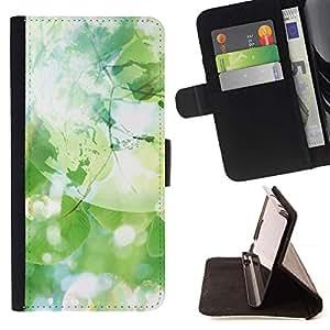 For Samsung Galaxy S6 EDGE (NOT S6) Plus / S6 Edge+ G928 Case , Jabón Hojas Verdes árbol Naturaleza- la tarjeta de Crédito Slots PU Funda de cuero Monedero caso cubierta de piel