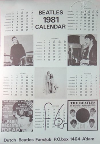 Calendar Netherlands The - Beatles Fan Club 1981 Calendar Poster Netherlands