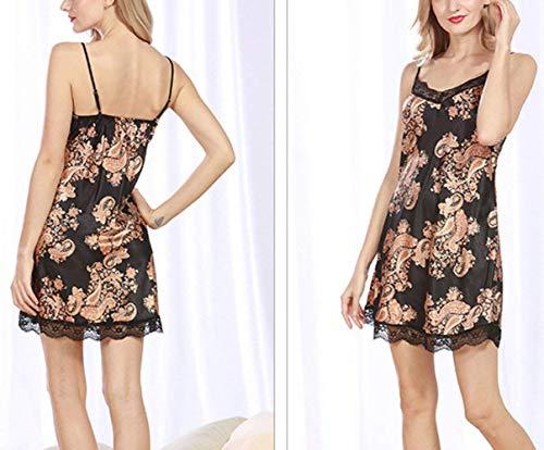 cuello Hueco Estampadas Pijamas Negro V Spaghetti Mujer Mangas Camisón De Vestido Dormir Camison Encaje Sin Vintage Splice Tirantes q1E8Pwx
