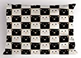 Ambesonne Checkers Game Pillow Sham, Checkered Squares with Cute Cat Faces in Classic Game Board Pattern, Decorative Standard Queen Size Printed Pillowcase, 30 X 20 inches, Dark Brown Beige