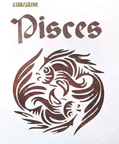 (OutletBestSelling Reusable Sturdy Pisces Astrological Sign Stencil Reusable 10 mil)