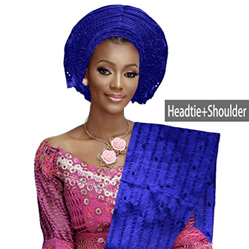 Auto Gele ASO Oke Headtie Women Traditional African Headwrap Gele with Matching Shoulder Beaded (Royal Blue)