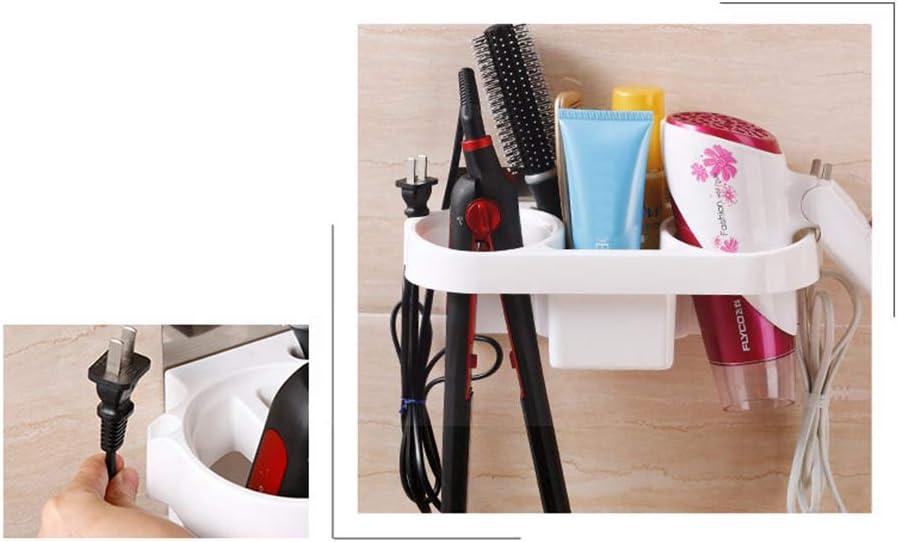 TOMYEER Multi-functional Hair Dryer Organizer No Drilling Hair Dryer Holder Wall Mounted for Bathroom Hotel