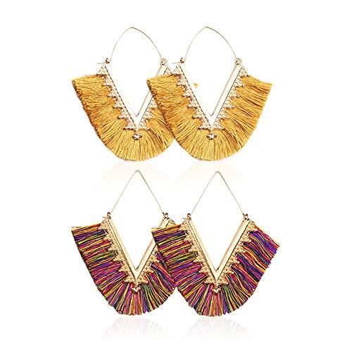 Beaded Tassel Earrings for Women - Statement Handmade Beaded Fringe Dangle Earrings, Idea Gift for Mom, Sister and Friend (Z-Yellow+Color)