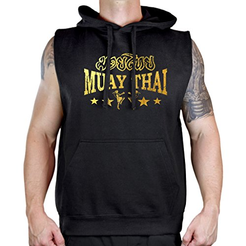 Interstate Apparel Men's Gold Foil Muay Thai Stars Sleeveless Vest Hoodie Large Black ()