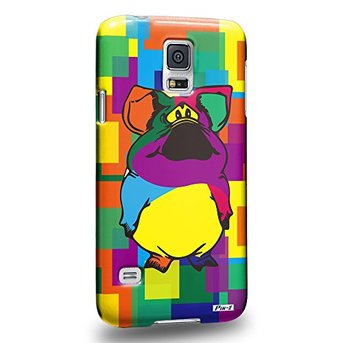 Pin-1 [Samsung Galaxy S5] 3D Printed Snap-on Hard Case & Warranty Card - Art Drawing Piggy Kawaii Abstract Animals - Piggy Pin