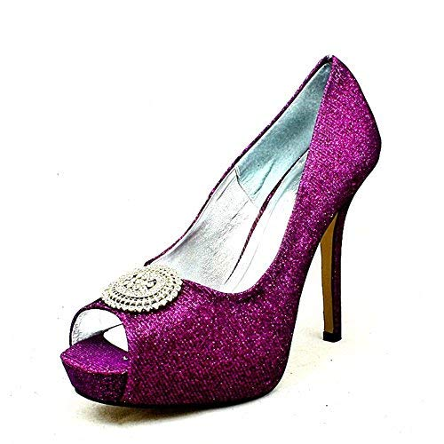 Mesdames De Chaussures Broche Satin Avec Toe Plateforme Peep Pourpre Cachés Grande Mariage Tgx1rqwTa