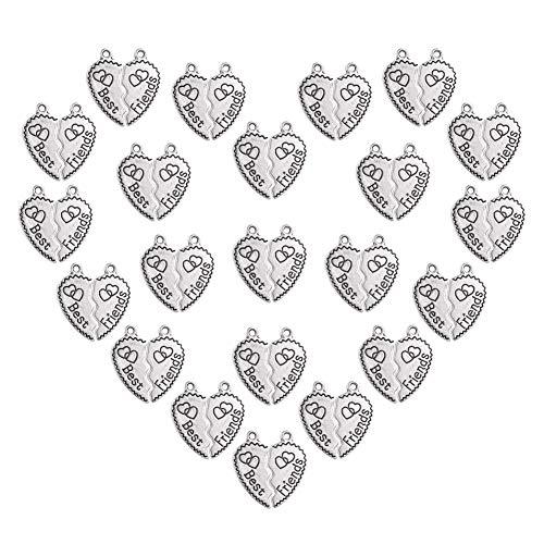 PandaHall Elite 80 Sets Tibetan Style Alloy Best Friends Love Heart Split Charms Pendant 25.5x23.5mm for Jewelry Making Antique Silver