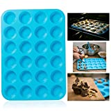 Itian Silicone Mini Muffin Pans - 24 Cup Jumbo Silicone Pan for Cupcakes and Premium Baking - Non Stick Tray / Bakeware - Silicon Mold - Dishwasher and Microwave Safe (Blue)