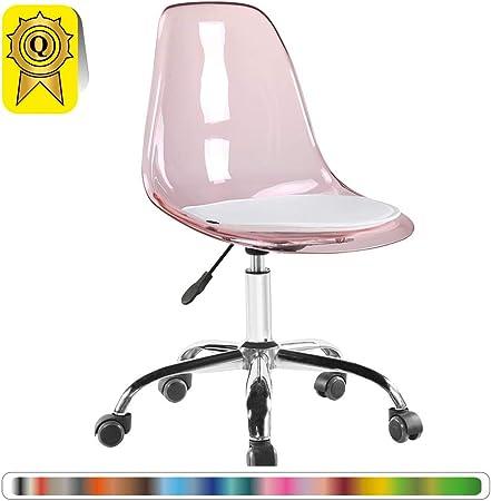 Decopresto 1 X Chaise De Bureau Roulettes Hauteur Reglable Transparent Rose Pieds Chrome Dp Dsoa Tp 1p Amazon Fr Cuisine Maison