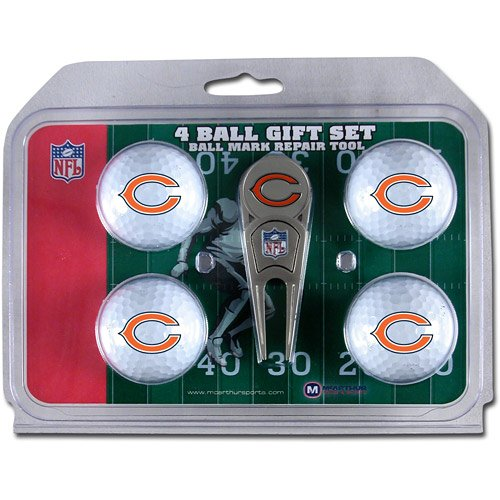 WinCraft NFL Chicago Bears WCRA01458 4 Ball Marker Gift Set with Divot Tool