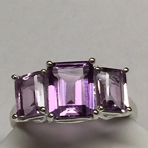 (Estate Natural 4ct Rose de France Amethyst/Pink Amethyst 925 Solid Sterling Silver Emerald Cut Ring sz 6, 6.75, 7)