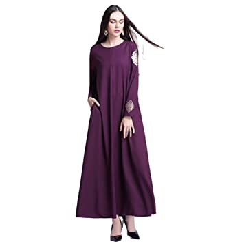 b00dc6a557e Muslim Evening Dresses for Women Plus Size,Women Dress of Long Sleeves Pure  Color Chiffon