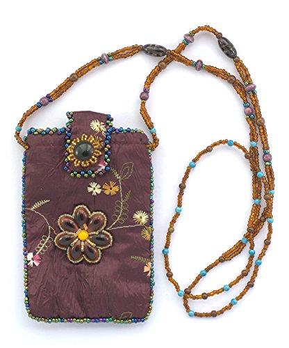 Bolsa de seda para teléfono portátil, diseño de flor–Bolas de cristal y porcelana morado