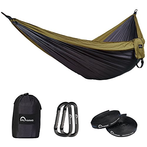 nylon hammock for backpacking survival travel beach hiking garden yard500ibs for 2 adult person alprang  dark gray camel    buy online in oman  double camping hammockwith tree strapsportable lightweight      rh   oman desertcart