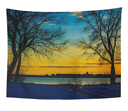 Emvency Tapestry Artwork Wall Hanging Orange Beautiful Madison Wisconsin Skyline Sunset Beauty Cold Evening Landscape 60x80 Inches Tapestries Mattress Tablecloth Curtain Home Decor Print