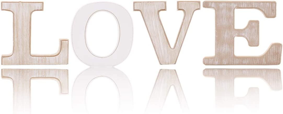 UNIQOOO Rustic Wood Love Sign | Free Standing Wooden Block Cutout Letters Sweet Home Decorative Signs | Perfect for Livingroom, Kitchen, Mantel Decoration | Wedding, Housewarming Party Gifts