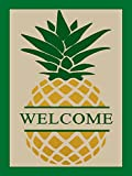 ShineSnow Vintage Welcome Pineapple Garden Flags 12 x 18 Inch, Double Sided Home Yard Decor House Flag, Seasonal Outdoor Flag Spring Summer Gift